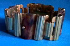 【送料無料】ブレスレット アクセサリ― ビンテージブレスレットゴールドセルロイドvintage articulated bracelet gold amp; celluloid