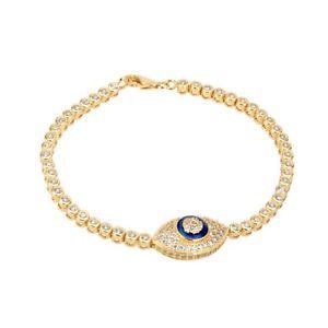 【送料無料】ブレスレット アクセサリ― イエローゴールドスターリングシルバーテニスブレスレットyellow gold over sterling silver larger evil eye tennis bracelet high quality