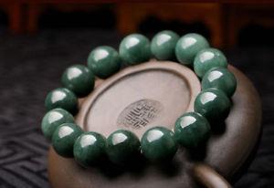 【送料無料】ブレスレット アクセサリ― ナチュラルビーズブレスレット15mm perfect chinese 100 a grade natural jade jadeite bean beads bracelet