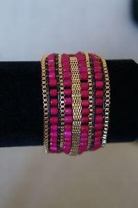【送料無料】ブレスレット アクセサリ― ジェニーカフゴールドラップチェーンビーズブレスレットピンク jenny bird gypset cuff wrap gold chain amp; bead bracelet leather crd pink