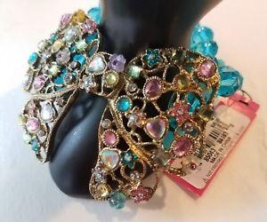 【送料無料】ブレスレット アクセサリ― ジョンソンビーズマルチカラーターコイズブレスレットドルnwt rare betsey johnson beaded multicolorturquoise charm bow bracelet retail95
