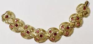 【送料無料】ブレスレット アクセサリ― ビンテージジュエリーブレスレットリンクvintage jewelry bracelet link engraved relief gold coloured fretwork crystals * 3350