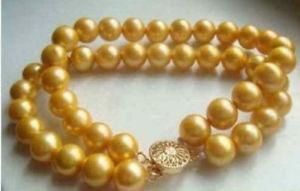 【送料無料】ブレスレット アクセサリ― ゴールデンサウスシーブレスレット2 rows aaa 910mm golden south sea cultured pearl bracelet 14k 758