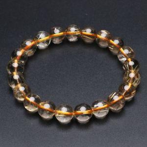 【送料無料】ブレスレット アクセサリ― ゴールドチタンルチルクリスタルビーズブレスレット96mm natural gold titanium rutilated quartz crystal beads bracelet gra040