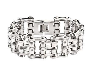 【送料無料】ブレスレット アクセサリ― メンズバイカーステンレススチールシルバーダブルローラーバイクチェーンブレスレットアメリカmens biker stainless steel silver double roller bike chain bracelet usa seller