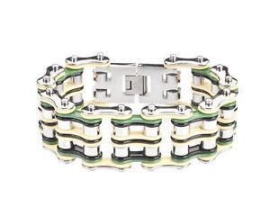 【送料無料】ブレスレット アクセサリ― メンズバイカーステンレススチールシルバーバイクチェーンブレスレットアメリカmens biker stainless steel silver green yellow bike chain bracelet usa seller