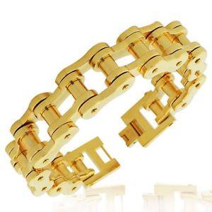 【送料無料】ブレスレット アクセサリ― ステンレススチールリンクチェーンメンズブレスレットstainless steel yellow goldtone link bike chain large heavy mens bracelet