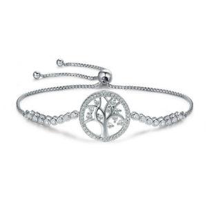 【送料無料】ブレスレット アクセサリ― テニスブレスレットスターリングシルバーアジャスタブルチェーンツリーtennis bracelet sterling silver 925 with adjustable chain tree of life