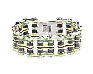 【送料無料】ブレスレット アクセサリ― メンズバイカーステンレススチールシルバーバイクチェーンブレスレットアメリカmens biker stainless steel silver yellow green bike chain bracelet usa seller
