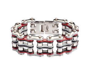 【送料無料】ブレスレット アクセサリ― メンズバイカーステンレススチールシルバーグレーレッドバイクチェーンブレスレットアメリカmens biker stainless steel silver grey red bike chain bracelet usa seller