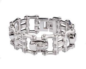 【送料無料】ブレスレット アクセサリ― メンズステンレススチールバイカーシルバースカルバイクチェーンブレスレットアメリカmens stainless steel biker silver skull bike chain bracelet usa seller