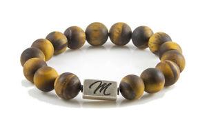 【送料無料】ブレスレット アクセサリ― マットタイガーアイブレスレットスターリングシルバービーズカスタムmatte tiger eye gemstone bracelet large 12mm with sterling silver bead custom