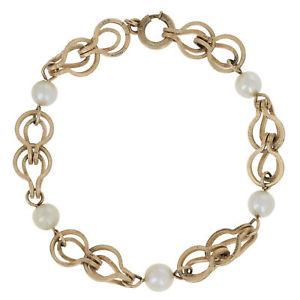 【送料無料】ブレスレット アクセサリ― ブレスレットゴールドファンシーリンクcultured pearl bracelet 7 gold filled fancy link textured finish