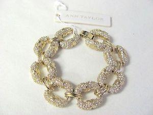 【送料無料】ブレスレット アクセサリ― アンテイラーマイクロラインストーンゴールドリンクブレスレットボーann taylor micropave rhinestone gold statement link bracelet sparkily, nwt beau