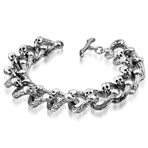【送料無料】ブレスレット アクセサリ― ステンレススチールダブルスカルチェーンブレスレットstainless steel silvertone double skull link chain bracelet, 8