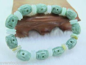 【送料無料】ブレスレット アクセサリ― ヒスイビーズブレスレットnatural grade a jade jadeite 11mm oilgreen oval carved beads bracelet