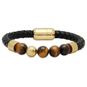 【送料無料】ブレスレット アクセサリ― メンズタイガーアイブレスレットmens genuine leather bracelet with tiger eye