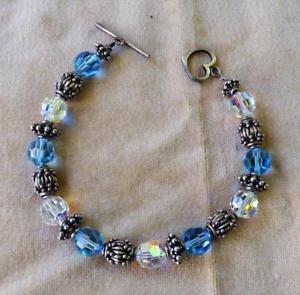 【送料無料】ブレスレット アクセサリ― スターリングシルバーラインストーンメタルビーズ925 sterling silver transparent blue rhinestone metal bead 216cm open