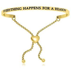 【送料無料】ブレスレット アクセサリ― ステンレスブレスレットyellow stainless steel everything happens for a reason adjustable bracelet