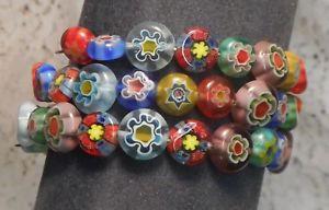 【送料無料】ブレスレット アクセサリ― カフブレスレットガラスビーズwraparound cuff bracelet made with 61 glass millefiori beads
