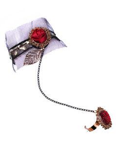 【送料無料】ブレスレット アクセサリ― ブレスレットビクトリアロマンチックレッドローズbracelet victorian romantic fishnet and red rose