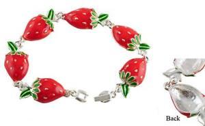 【送料無料】ブレスレット アクセサリ― シルバーブレスレットイチゴbracelet tasty strawberries in silver and resin red painted fire
