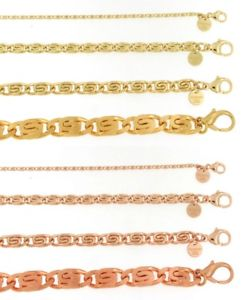 【送料無料】ブレスレット アクセサリ― ブレスレットチェーンゴールドイタリアbracelet scurb chain gold or rosegold plated or doubl women men jewelry italy