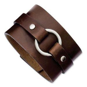 【送料無料】ブレスレット アクセサリ― チゼルステンレスブラウンレザーブレスレットドルchisel stainless steel brown leather bracelet msrp 101