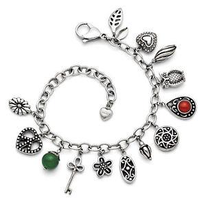 【送料無料】ブレスレット アクセサリ― ステンレススチールブレスレットグラスstainless steel synthetic jade amp; red glass with 2in ext charm bracelet srb1228