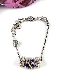 【送料無料】ブレスレット アクセサリ― ブライトンサファイアパールハートクリスタルチェーンブレスレットbrighton plated silver 4 sapphire amp; pearl crystal chain bracelet with heart
