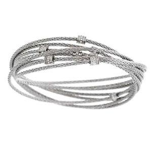 【送料無料】ブレスレット アクセサリ― ステンレススチールマルチケーブルクリスタルローリングブレスレットドルqvc stainless steel multicable crystal rolling 8 bracelet 150