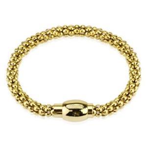 【送料無料】ブレスレット アクセサリ― ゴールドブレスレットステンレススチールバブルgold bracelet stainless steel hollow bubble length 210 mm wide 6mm