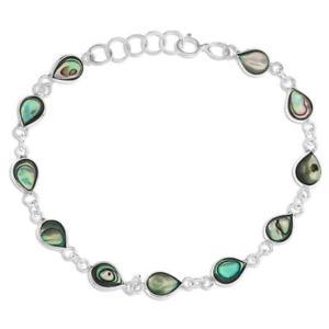 【送料無料】ブレスレット アクセサリ― スターリングシルバーアワビリンクブレスレットornami sterling silver and abalone oval link bracelet of 165cm