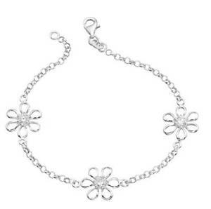 【送料無料】ブレスレット アクセサリ― スターリングシルバーブレスレットsterling silver flower bracelet set with white stones