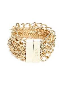 【送料無料】ブレスレット アクセサリ― ゴールドマルチチェーンラインストーンロゴワイドブレスレット guess gold multi chain, rhinestone, logo, magnetic wide bracelet
