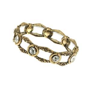 【送料無料】ブレスレット アクセサリ― ワークストレッチブレスレット1928 jewelry goldtone crystal open work stretch bracelet of 17cm