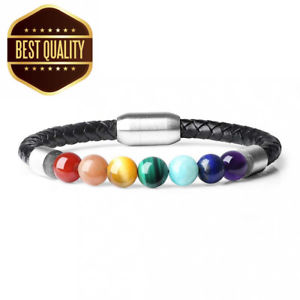 【送料無料】ブレスレット アクセサリ― クラスプチャクラブレスレットcoai 7 chakra stone genuine leather bracelets with magnetic clasp