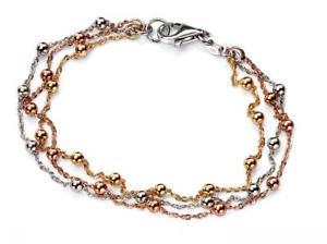 【送料無料】ブレスレット アクセサリ― ローズゴールドケーブルビーズチェーンレディーススターリングシルバーelements sterling silver for ladies with rose gold and 3 cable beaded chains