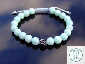 【送料無料】ブレスレット アクセサリ― スターリングシルバーブレスレットマクラメヒーリングamazonite om sterling silver natural gemstone bracelet 69 macrame healing