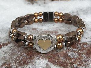 【送料無料】ブレスレット アクセサリ― ヘマタイトブレスレットスライダmens womens copper magnetic hematite bracelet anklet 2 row love nest slider