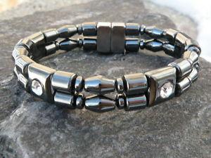 【送料無料】ブレスレット アクセサリ― ダブルブレスレットラインストーンセラピーmens womens double 100 magnetic bracelet anklet w rhinestone therapeutic