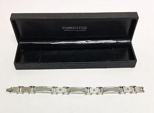 【送料無料】ブレスレット アクセサリ― スチールシルバーリンクブレスレットステンレス evolution textured steel silver link bracelet stainless men