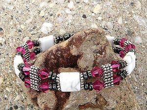 【送料無料】ブレスレット アクセサリ― ブレスレットフシアスワロフスキークリスタルwomens magnetic bracelet anklet white howlet w fushia swarovski crystal 2 row
