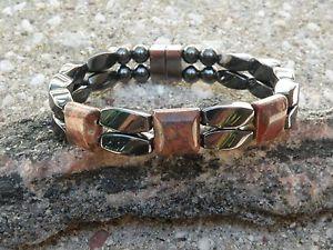 【送料無料】ブレスレット アクセサリ― ヘマタイトブレスレットヒョウジャスパーシリーズmagnetic hematite bracelet anklet 2 row leopard skin jasper 3 stone series
