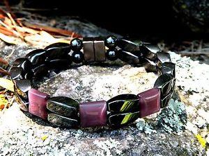 【送料無料】ブレスレット アクセサリ― メンズウィメンズヘマタイトブレスレットアメジストシリーズmens womens magnetic hematite bracelet anklet 2 row amethyst 3 stone series