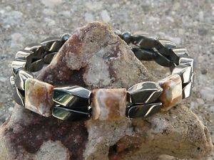 【送料無料】ブレスレット アクセサリ― メンズヘマタイトブレスレットオパールシリーズmens womans magnetic hematite bracelet anklet 2 row opal 3 stone series