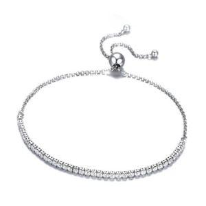【送料無料】ブレスレット アクセサリ― スターリングシルバーブレスレットリンクテニス5x925 sterling silver sparkling strand bracelet women link tennis adjustab k8r1
