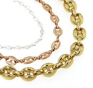 【送料無料】ブレスレット アクセサリ― チェーンブレスレットコーヒーゴールドピンクオスメスchain bracelet cee bean lined gold yellow or pink or gold plated male female
