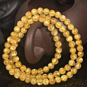 【送料無料】ブレスレット アクセサリ― ルチルチタンクリスタルビーズストレッチブレスレット6mm natural gold rutilated quartz titanium stretch crystal beads bracelet