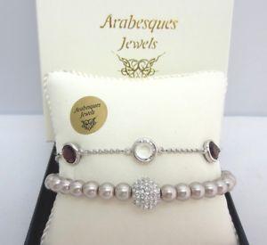 【送料無料】ブレスレット アクセサリ― アラベスクピンクアーモンドパールストランドリミックスブレスレット2 arabesques genuine crystal timeless pink amp; almond pearl strandremix bracelets